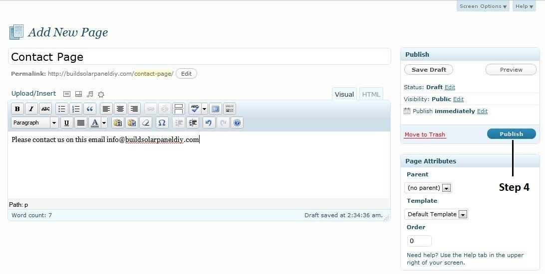 publish web page